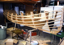 The hull shape is established by the transom, keel, molds, ribbands and stem.