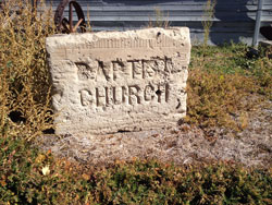 The corner stone from the original Baptist Church.