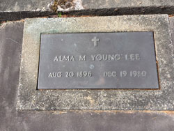 Alma M Young Lee August 20, 1896-December 19, 1980