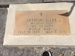 Arthur J Lee, Washington TM2 US Navy World War 1, July 25, 1899-May 6, 1970